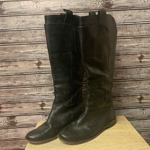 Frye Paige Knee High Black Leather Boots Wide Calf